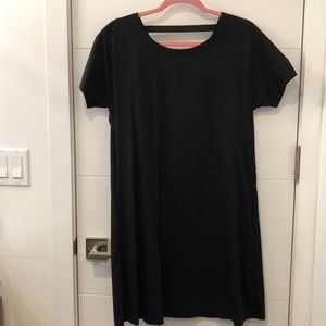 COS black dress with back detail & side pockets